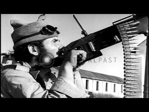Soldiers of the Israeli Military Forces hold their position in battle during Arab...HD Stock Footage