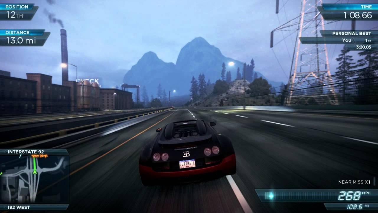 nfs most wanted 2012 bugatti veyron vitesse top speed 280mph 451 kmh ultimate speed pack dlc. Black Bedroom Furniture Sets. Home Design Ideas