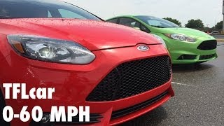 Ford Fiesta ST Vs Focus ST 0-60 MPH Fully Loaded Mashup