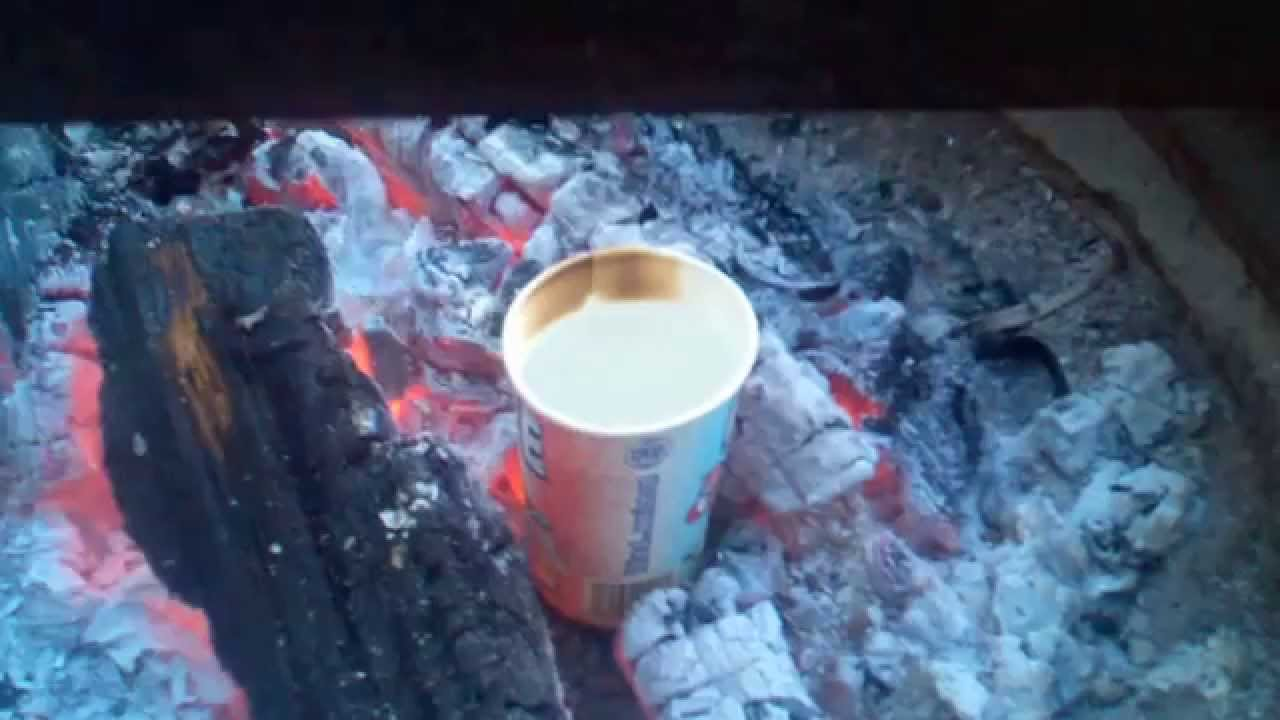 Boiling water in a paper cup