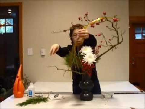 Sogetsu ikebana demonstration video New Year Jan. 2014 花ごよみ 1月