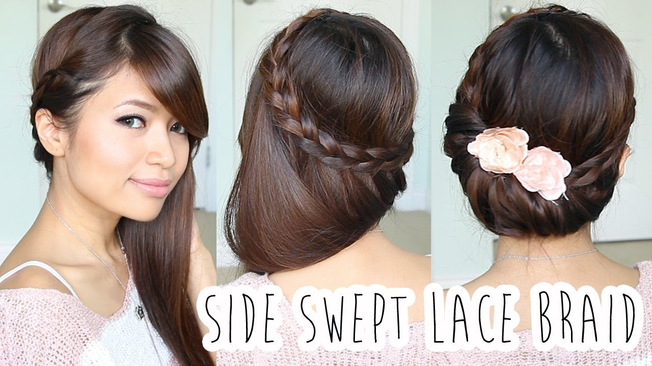 Hair Style Youtupe : Fold-over Lace Braid Updo Hairstyle Hair Tutorial - YouTube