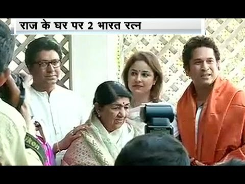 Lata, Sachin meet at Raj Thackeray's house