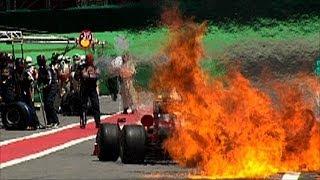 フェラーリ、キミ・ライコネンの一瞬の炎上シーン
