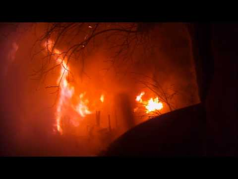 Helmet-cam: Miss. structure fire with exposures