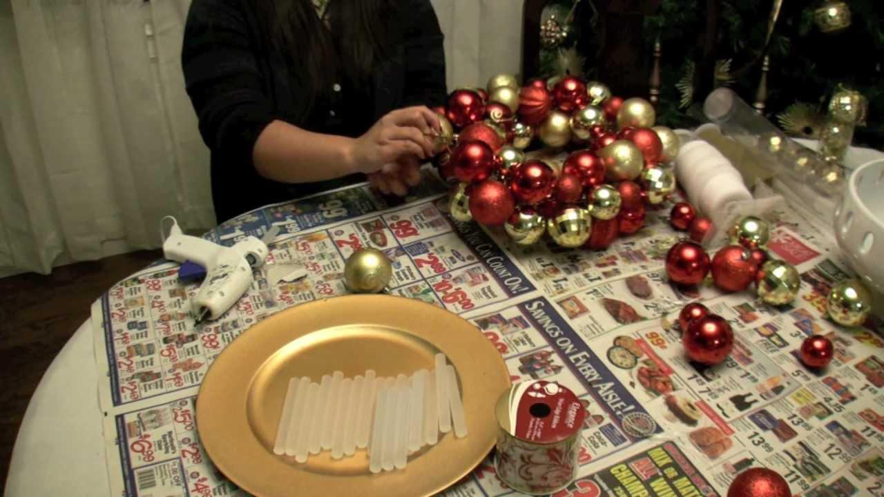 How To Make a Christmas Ornament Ball Wreath - YouTube