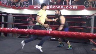 Watch : Harbhajan Singh knocking down Great Khali's student