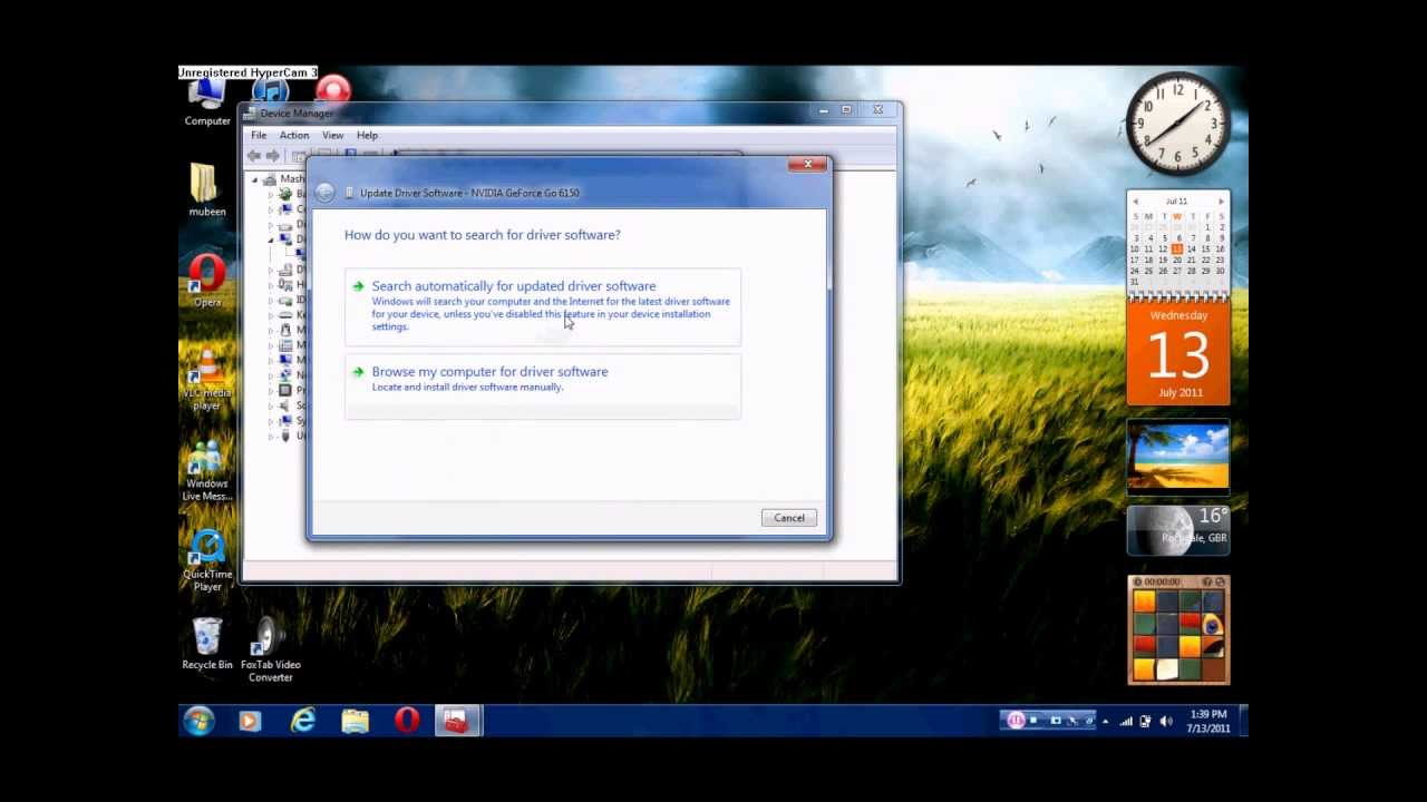 updating video card in windows xp