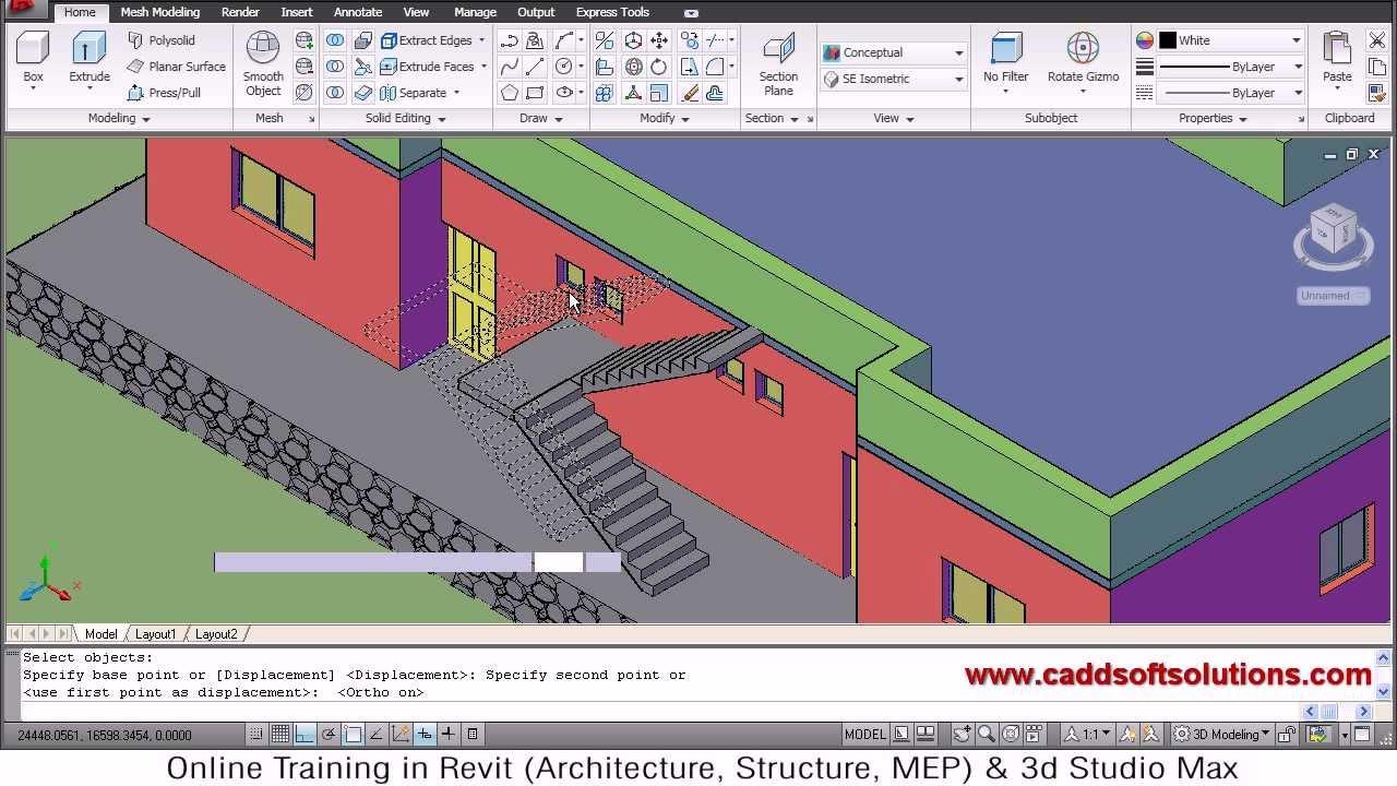 autocad 3d house modeling tutorial 7 3d home 3d