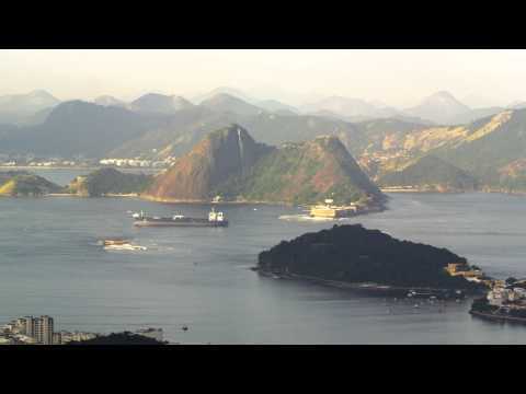 Pan of Guanabara Bay and barge