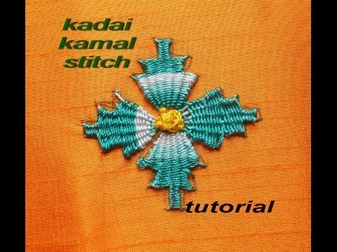 Hand embroidery :Kadai kamal stitch tutorial ( BORDADO INDIANO )
