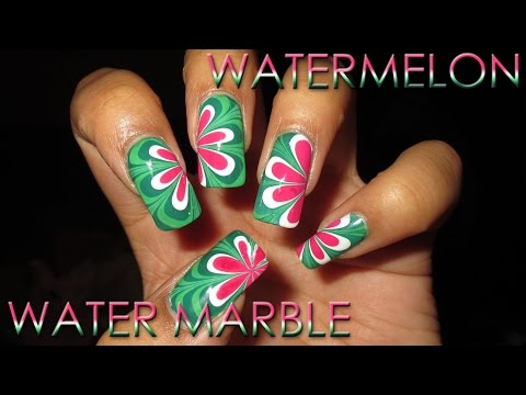 Watermelon Inspired Water Marble Nail Art Tutorial (Fruit by the Finger Series)