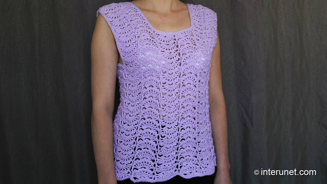 Lacy Crochet Stitches Youtube : fan stitch womens top crochet pattern - crochet short sleeve lace ...