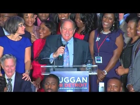 Mike Duggan addresses his supporters after projected Detroit mayoral win