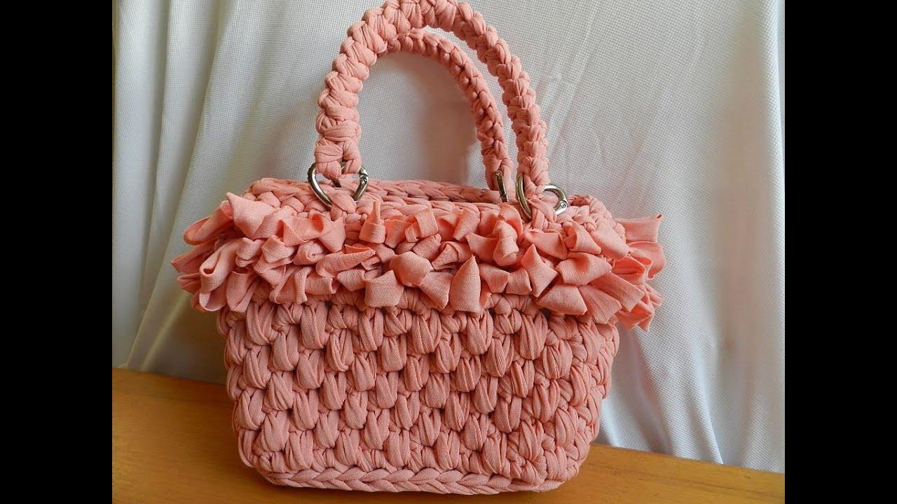 Tutorial borsa in fettuccia punto canestro bolsos de ganchillo fondo con catenella intorno youtube for Schemi borse uncinetto