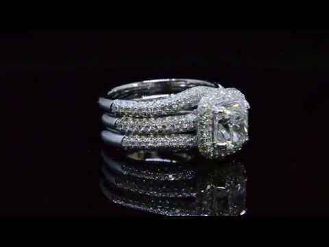 Cushion Cut Micro Pave Halo Diamond Engagement Bridal Set # 21964