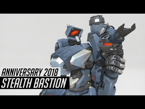 Stealth Bastion Skin Spotlight | Cosmetics & Gameplay [Overwatch Anniversary 2018]