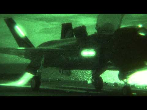 F-35B fighter jet takes off at night from USS Wasp