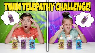 TWIN TELEPATHY SLIME CHALLENGE!!! Reading My Sister's Mind to Make DIY Slime!