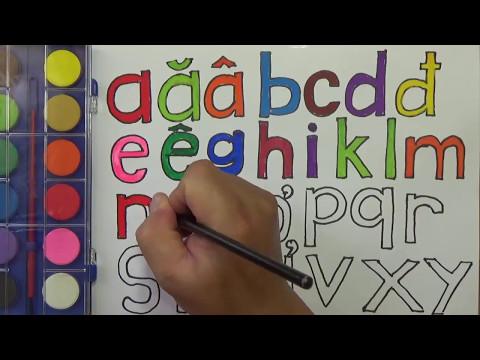 Dạy bé học bảng chữ cái tiếng Việt cho trẻ em | vẽ và tô màu bảng chữ cái, PA channel