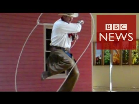 Stunning lasso tricks slowed down - BBC News