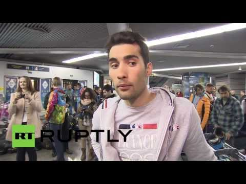 *EXCLUSIVE* Russia: French biathlon brothers arrive in Sochi for Winter Olympics
