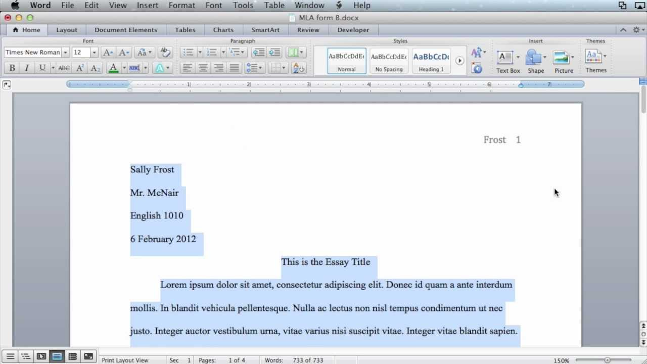 mla formatting - microsoft word 2011  mac os x