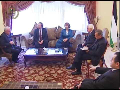 President Abbas meets European Commissioner for External Relations Catherine Ashton