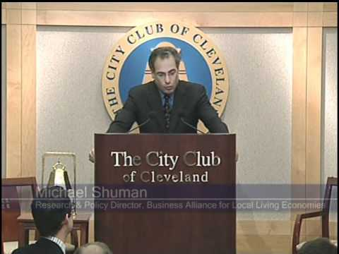 "Recorded 11/16/10 at the City Club of Cleveland, this video features a special City Club program with Michael Shuman entitled ""Revitalizing the Northeast Ohio Economy through Local Food.""  Learn more about the City Club of Cleveland: www.cityclub.org Read Michael Shuman's report, the ""Northeast Ohio Local Food Assessment and Plan"": www.neofoodweb.org Join (or launch) a conversation about this event: http://www.theciviccommons.com/conversations/175  Uploaded by the Civic Commons. Used by permission of the City Club of Cleveland."