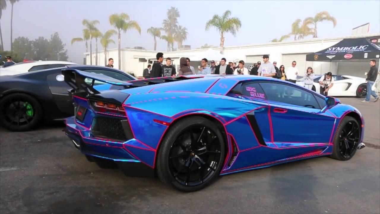 chrome blue tron lamborghini aventador youtube - Lamborghini Black And Blue