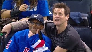 Spike Lee and Jim Carrey Ham it Up at a Hockey Game