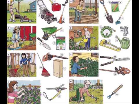 Garden tools garden actions and maintenance video English lesson