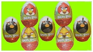 7 x Angry Birds Kinder Surprise Eggs Chocolate Eggs Kinder Surprise unboxing Animation