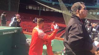 J.D. Martinez emerges from Boston Red Sox home dugout for first time, puts on hoodie, takes BP (A...