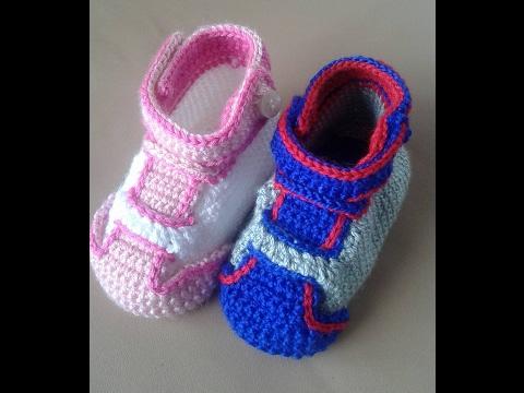 zapatillas crochet  en todos los tamaños with subitles in several lenguage