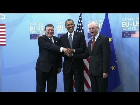 Obama at EU headquarters for talks on takeover of Crimea