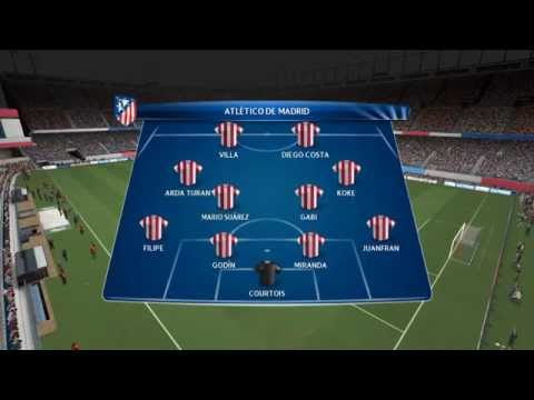 PES 14 - Simulacion / Atletico Madrid vs Barcelona / Uefa Champions league Cuartos De Final