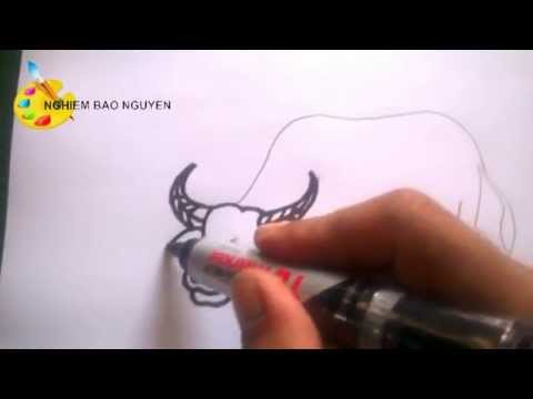 Vẽ con trâu/How to Draw  Buffalo