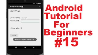 Android Tutorial for Beginners 15 # Android Login Screen Example Part 1