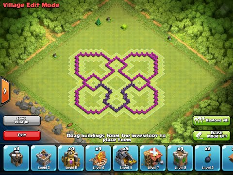 Clash of Clans - Th7 - Trophy/War Base (Butterfly) Without Barbarian King 2014