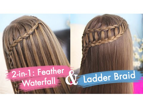 Feather Waterfall & Ladder Braid Combo | Cute 2-in-1 Hairstyles, You all have seen our Ladder Braid Ponytail video we uploaded two weeks ago, and may have noticed that it was one of our more popular of recent videos. We wa...