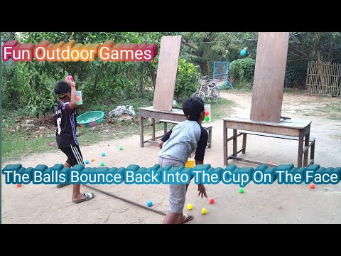The Ball Bounce Back Into The Cup On The Face | Fun Outdoor Games
