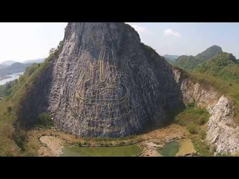 Buddha Mountain (Khao Chi Chan, near Pattaya) and Silverlake seen from a Drone  (Uncut) HD