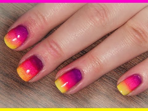 Rainbow Ombre Using Only 3 Colors Nail Designs Video