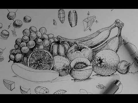 Pen & Ink Drawing Tutorials | How to draw a fruit and vegetable still life