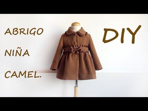 Como hacer un abrigo de niña camel. Patrones y moldes ropa infantil.