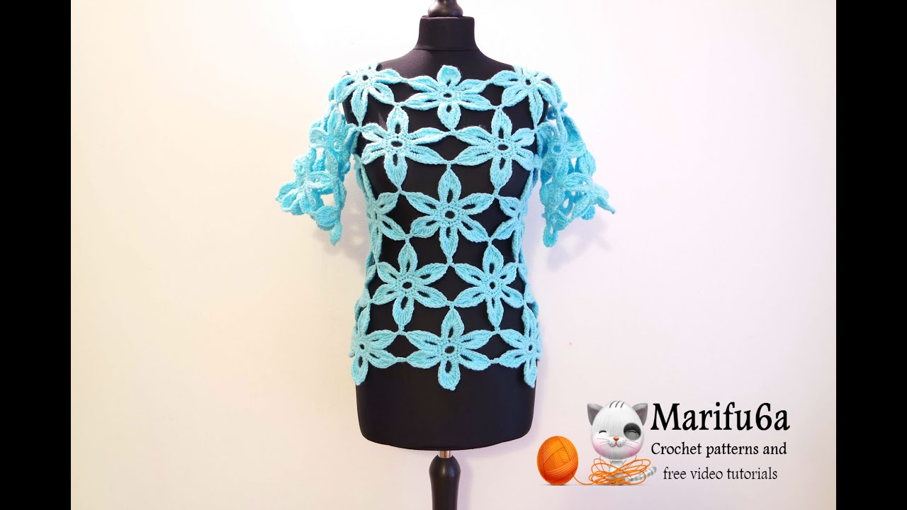 Free Crochet Pattern Tunic Vest : how to crochet flower tunic top sweater free pattern ...