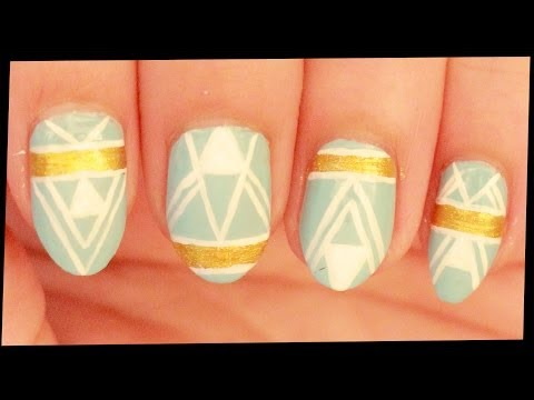 White Lines & Gold on Pastel Blue nail art