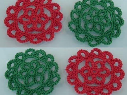 Crochet Flower Tutorial #10 / DIY Crochet Coasters