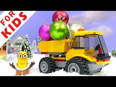 Funny toys decorate the Christmas tree and meet Santa Funny cartoons and adventures